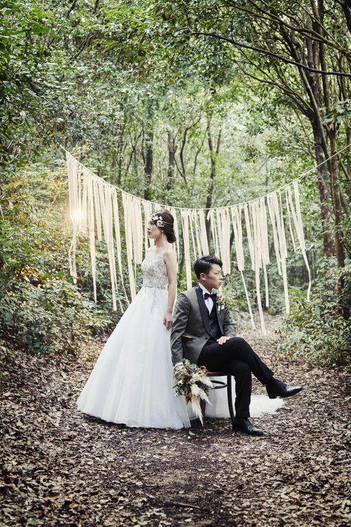 森 ウエディングドレス タキシード